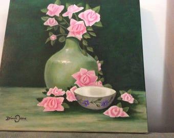 Pink flowers in green vase
