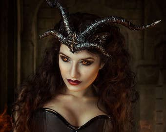 Horns - Headpiece with horns- Demons crown- Baphomet horns -Satanic horns - Maleficent horns- Black horns