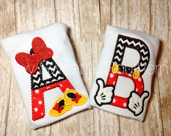 Minnie and Mickey embroidered letter shirt, Monogrammed Disney shirt, Minnie Mouse letter shirt, Mickey Mouse letter shirt.