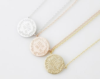 Mother 's day Necklace Mom I Love You Initial Necklace Dainty Circle Necklace . Birthday Gift . Dainty and Delicate Necklace