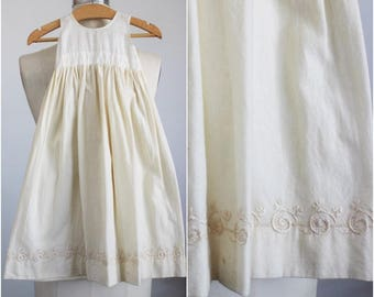 Vintage 1910s 1920s Baby Girls White And Ivory Slip Dress / Edwardian Christening Baptism Embroidered Baby Dress / Infant Early 1900s