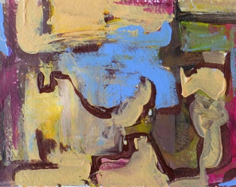 Abstract art mixed media affordable small original painting on 140lb watercolor paper