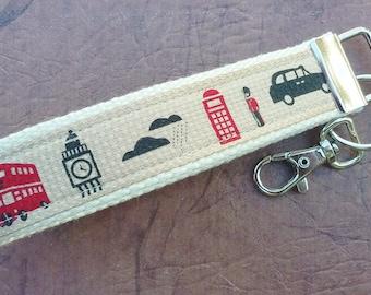 London keyfob, Big Ben, English themed, keychain wristlet, key wristlet, key carrier, keyfob, key holder, removable key fob