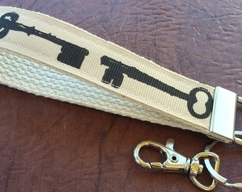 Antique keys key fob, keychain wristlet, key wristlet, key carrier, keyfob, key holder, removable key fob
