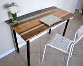 Distressed Colorful Wood Desk with Round Metal Legs