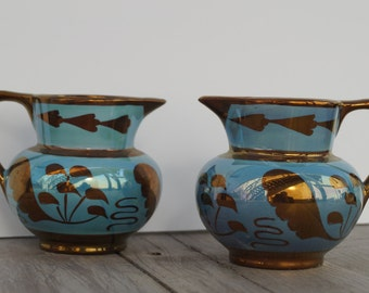 Pair of Vintage Teal and Gold Colored Old Castle Lusterware Creamers - Made in England