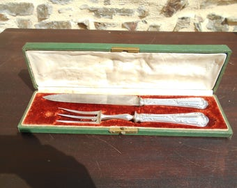 Antique French Sterling Silver Carving Set - Paris -  Boxed