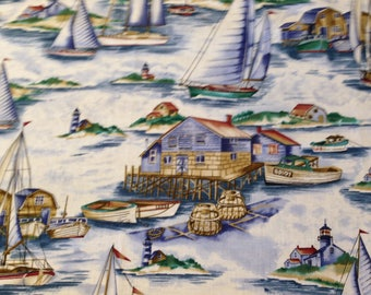 Lighthouse Sailboat Harbor Cotton Fabric 26 in X 15 in Piece, Rowboat,Sailing, Lighthouses, for Crafts, Picture Frames, Quilting, Decoupage