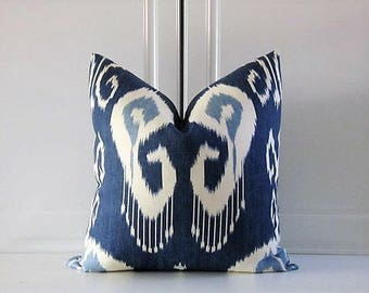 Kravet Decorative Pillow Cover-Iris Blue Ikat-18x18,20x20