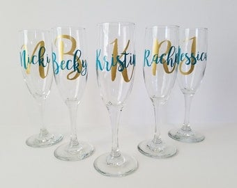 5 Personalized Champagne Glasses, Bridesmaid Champagne Glasses, Toasting Flutes, Personalized Champagne Flutes