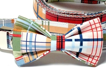 Coastal Plaid Dog Collar Bow Tie set with metal hardware, pet bow tie, collar bow tie, wedding bow tie