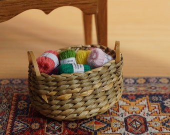 Dolls House Miniature Basket of Assorted Wool