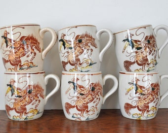 Vintage Fred Roberts Western Mugs, Cowboy, Horse, Spurs, Set of Six, 1950s