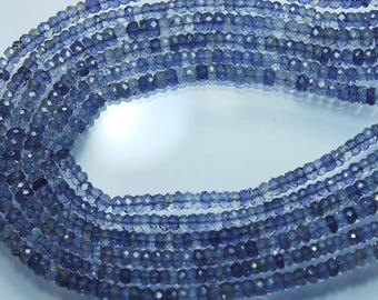 13.5 Inches Strand, AAA Quality Genuine Natural Blue Iolite Faceted Rondelles Size 4mm