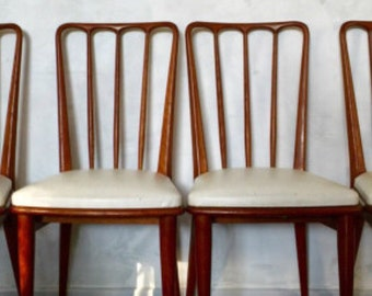 Scandinavian Chair sitting feet white skai compass wood massif 60s