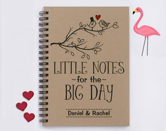 """Personalized, Little Notes for the Big Day (Birds), 5""""x7"""" Journal, notebook, wedding plans, wedding notes, wedding details, convenient size"""