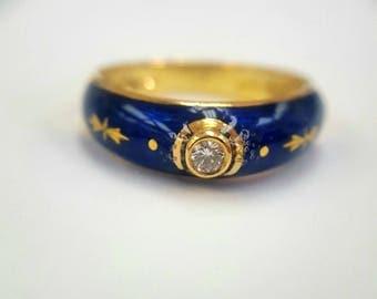 Vintage 18k yg FABERGE Victor Mayor Gold Blue Enamel and Diamond Ring band