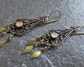 Antiqued Gold Brass Ethnic Gypsy Boho Chandelier Earrings With Mother Of Pearl Inlay - Hypoallergenic Titanium OR Gold Vermeil Ear Wires