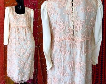 Boho Dress Wedding Dress Lace Dress Rhinestone Dress Vintage Mod Lace Dress