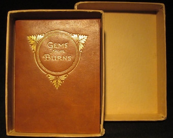 Gems from Burns 1890s Miniature Leather Boxed Antique Poetry Book