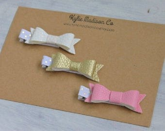 pink and gold petite hair bow clip set, baby hair clips