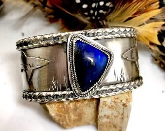 Finnish Spectrolite Shark Fin Cuff Bracelet Sterling Silver
