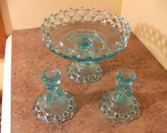 Vintage 1950s Westmoreland Blue Doric Lace Lattice Milk Glass Pedestal Bowl and Candle Holders