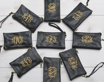 Monogrammed Crossbody Clutch   Faux Leather Clutch   Ladies' Crossbody   Monogram Clutch   Monogram Wristlet Wallet