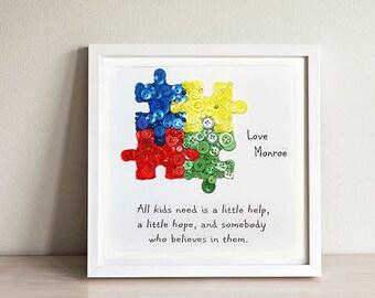 Autism Puzzle Piece~ Autism Teacher Gift~ Button Art~Autism Gift~Autism Awareness~ Thank you Teacher~ Teacher Appreciation Gift~