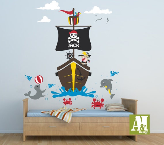Custom Name Pirate Wall Ship Decal by A8IDesign