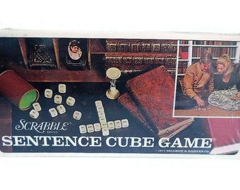 Vintage Scrabble Sentence Cube Game, sealed in box, 1971 - wood word tiles, word game, fun, family,game night, crafts,craft supply, supplies