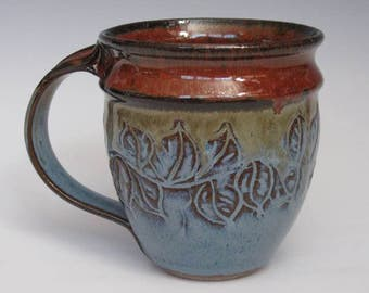 Leaf Mug in Blue/red glazes