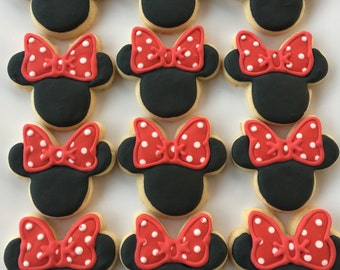 Minnie Mouse Cookies - 1 Dozen; Minnie Mouse Theme Cookies; Minnie Mouse Party Favors