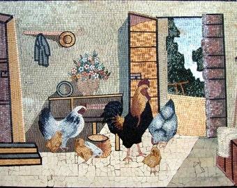 Mosaic Wall Art- Chicken and Chicks