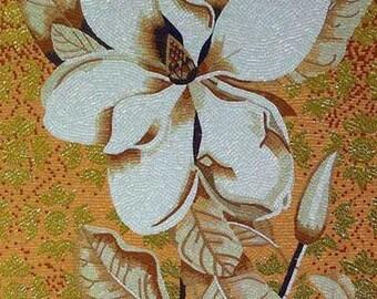 Classy White Flower Glass Mosaic Mural