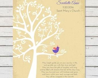 BAPTISM GIFT Art PRINT, Personalized Baptism Gift, Baptism Keepsake Print, Baptism Tree, Christening Gift, Gift for Goddaughter Godson