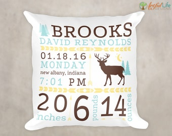 PERSONALIZED NURSERY PILLOW, Woodlands Nursery Decor, Birth Stats Pillow, Birth Announcement Pillow, Deer Nursery Decor, Rustic Nursery