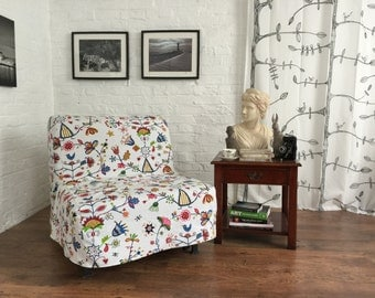 Slipcover to fit Ikea Lycksele CHAIR or DOUBLE sofa bed in a Beautiful Secret Garden cotton fabric