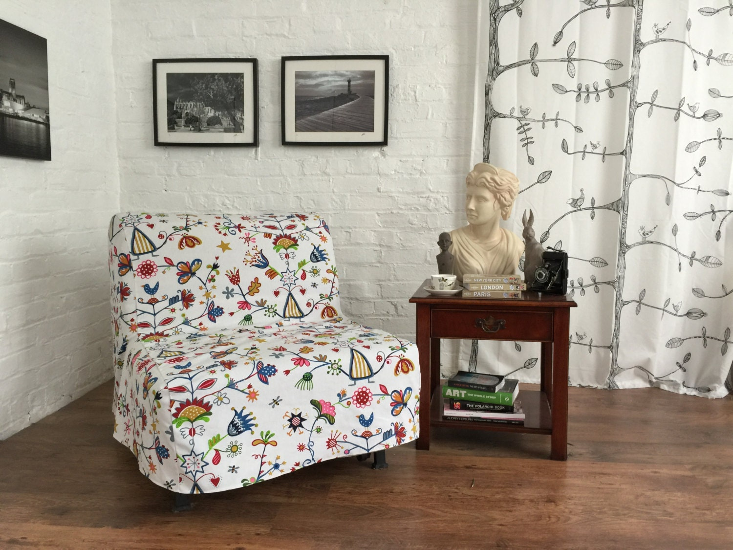 Slipcover to fit ikea lycksele chair or double sofa bed in a - Funda sofa ikea ...