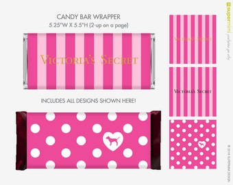 Victoria's Secret VS Pink Dog Candy Bar Wrapper Labels / Instant Download Printable
