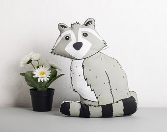 Nursery Cushion, Plush Raccoon, Monochrome Pillow, Children's Room Decor, Woodland Animal Plush, Gift for Kids,