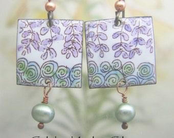 Wisteria Blooms Enamel Earrings, Copper Enamel Jewelry handmade in North Carolina