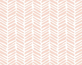 Coral Painted Herringbone, Peach - Organic Swaddle, Boppy Cover, Crib Sheet, Changing Pad Cover, Minky Sherpa Blanket