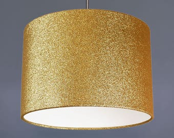 Gold Glitter Metallic Fabric Drum Lampshade Pendant