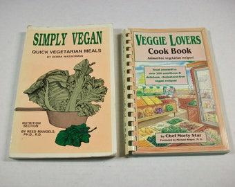 Vintage Vegan Cookbooks, Veggie Lovers and Simply Vegan, Vegetarian Cookbooks, Vegan Recipes, Vegetarian Cuisine, Meatless Meals