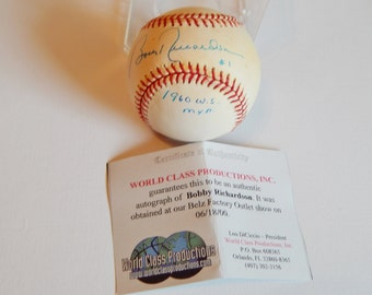 Bobby Richardson Autograph Baseball 1960 World Series MVP/Bobby RIchardson baseball with Certificate of Authenticity and Cube