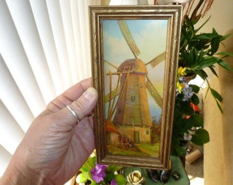 Small Vintage Print Of Dutch Windmill 1940's