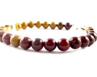 Mookaite bracelet with 925 sterling Silver HAMMAKER handmade in Italy
