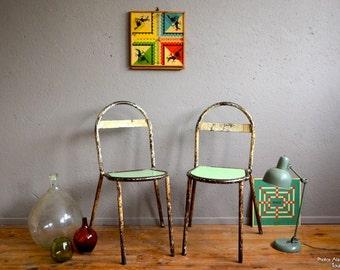 Vintage metal Chair retro Robert Mallet - Stevens René Herbst bauhaus art deco indus Studio tolix Walter Gropius chair of antic metal set