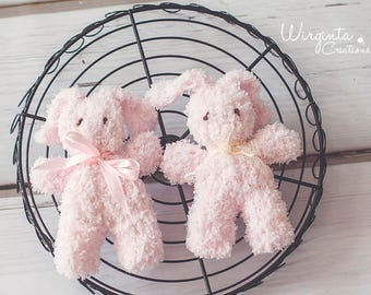 Soft little bunny for photography. Toy photo prop. Around 14cm. Made to order